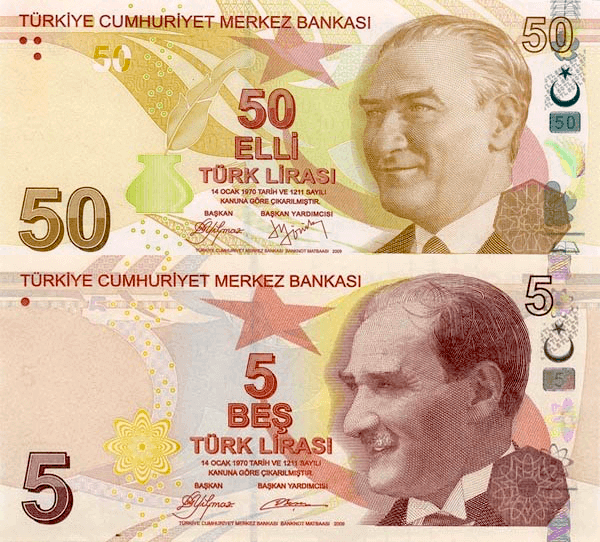 Similarity between the Fifty and Five lira banknotes